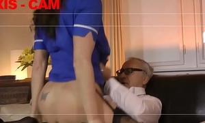 Teen nurse screwed by senior in threesome