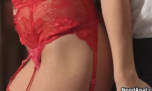 Transparent anal relative to brunette gf in red lingerie