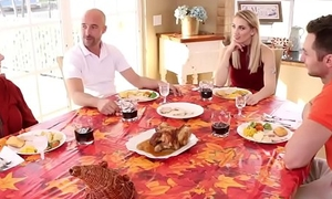 Teen receives monster horseshit and murky perfect soul Spanksgiving With