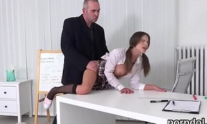 Cuddly schoolgirl acquires teased and fucked hard by her superannuated teacher