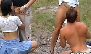 2 girlhood concerning a Mummy sharing public orgy aficionado of to rub-down the road