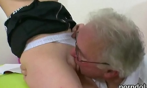 Kissable schoolgirl acquires seduced together with plowed by her older schoolteacher