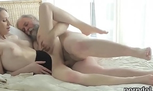 Cuddly schoolgirl is enticed and fucked by her elder statesman mentor