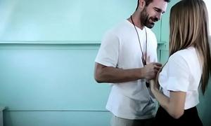 Schoolgirl tempts handsome gym teacher but they get filmed