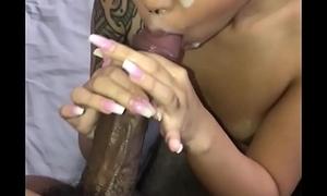 Jayla sucks big black cock and gets cum shower