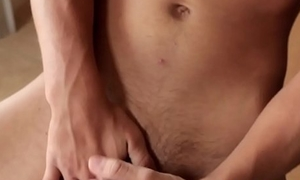 Juvenile athletic twink strips with the addition of tugs till cum