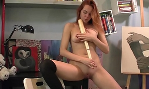 Sweets Inserts A Baseball bat in her shaved pussy to masturbate