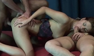Fiery redhead got all her holes drilled in a triune