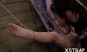 Blond has thirst for rough bondage