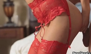 Girlfriend in red lingerie craves for anal