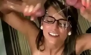 2 guys cum mainly nerd girl'_s glasses