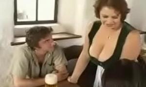 Hot Plumper Materfamilias seducing young guys in bar (vintage)