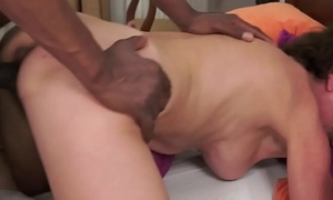 Cockriding granny makes younger dick happy