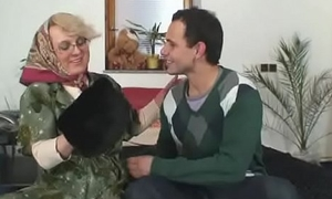 Grey granny satisfies an young stranger