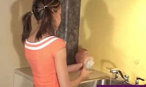 Hot Juvenile Tiny Legal age teenager Andi Pink Gets Nude In The Kitchen Sink!